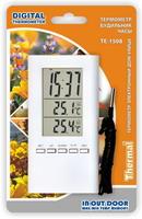 Термометр цифровой электронный ТЕ-1508 для одновременного измерения температуры дома и на улице + часы-будильник