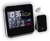 Термометр цифровой электронный ТЕ-1928 «MULTICOLOR» с беспроводным радиодатчиком для измерения температуры в доме и на улице, влажности в доме, c барометром, указателем погоды, многоцветной подсветкой и часами-будильником