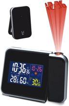 Термометр цифровой электронный ТЕ-1973 «PLASMA» с радиодатчиком для одновременного измерения температуры в доме и на улице, а также влажности в доме, c указателем погоды, многоцветной подсветкой и часами с проектором